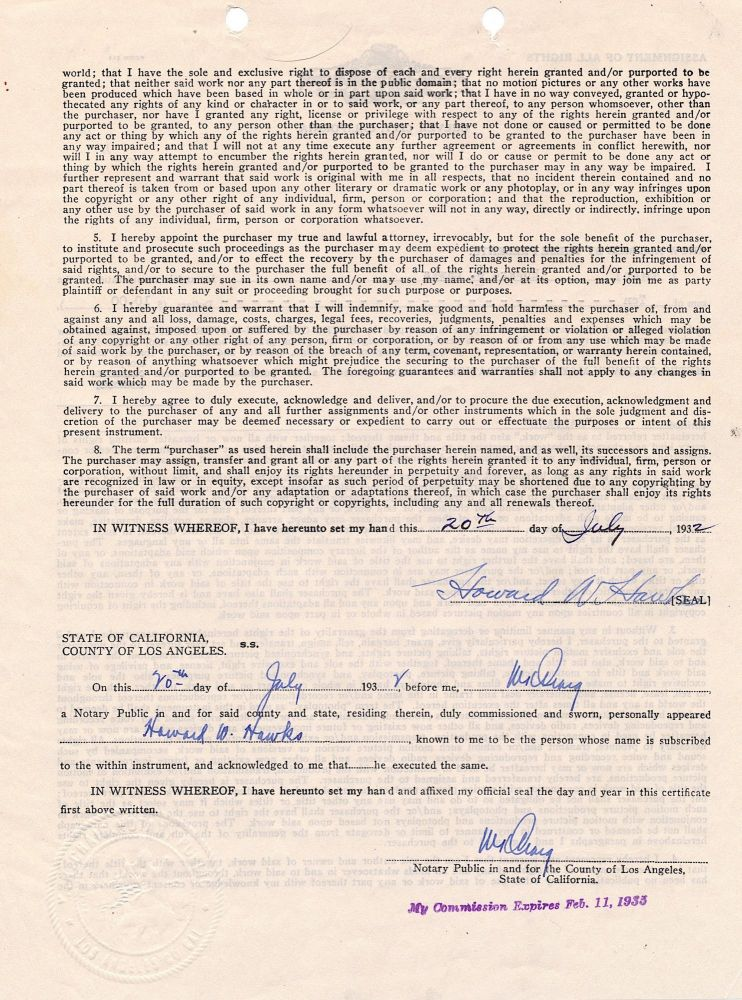 Document Signed, 2 pp on one sheet, 4to, Los Angeles, CA, July 20, 1932. HOWARD W. HAWKS.