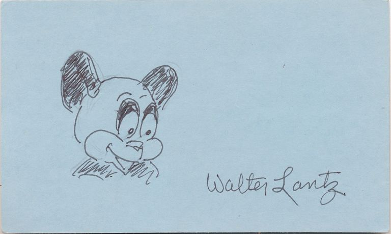 Andy Panda, Signed Sketch, on a small 8vo blue card. WALTER LANTZ.