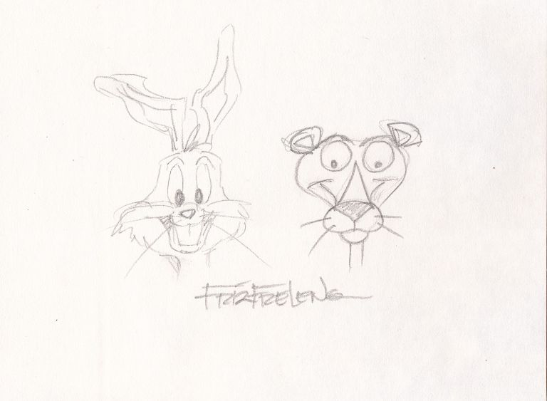 Bugs Bunny and the Pink Panther Sketched together in graphite, Signed, 8vo. FRIZ FRELENG.