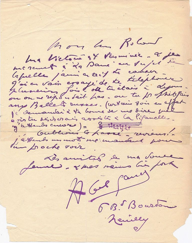 Early Autograph Letter Signed with Autograph Musical Quotation and theater content, in French, 4to, Neuilly, n.d,. but 1913. ABEL GANCE.