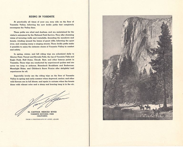 """Riding in Yosemite."" Printed and Signed Photograph cover for a menu from ""The Ahwahnee"" restaurant, 8vo, Yosemite National Park, August 17, 1939. ANSEL ADAMS."