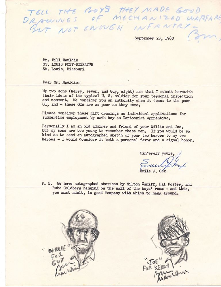 Two Original Drawings Signed and Captioned, with Autograph Note Initialed within a Typed Letter to the cartoonist, 4to, [Sept. 23, 1960]. BILL MAULDIN.