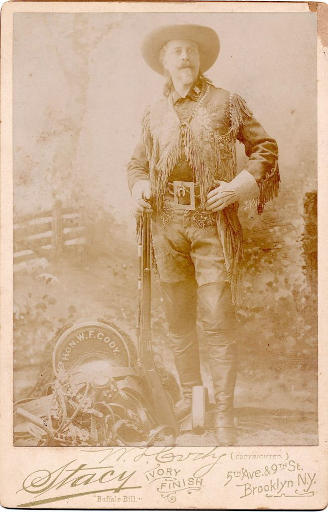 "Photograph, Cabinet Size, 4 x 6.5 inches, Albumen Print with Ivory finish by Stacy Photographers, Brooklyn, NY. WILLIAM F. CODY, ""BUFFALO BILL"""
