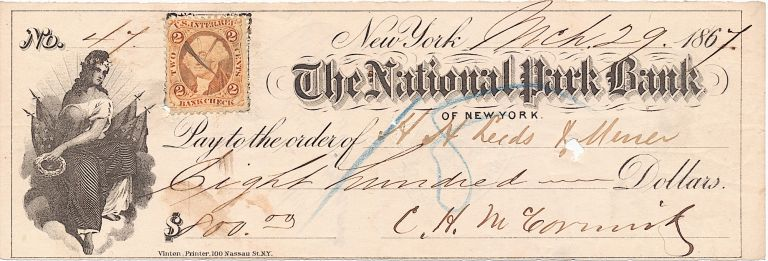 Excellent, Uncommon Autograph Document Signed, oblong 8vo, New York, March 29, 1867. CYRUS HALL MCCORMICK.