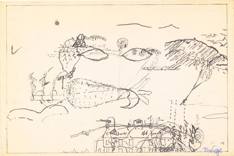 """Cage signed this Art Reproduction Post Card in the lower right corner in blue ball point, """"John Cage."""". JOHN CAGE."""