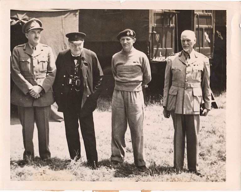 Wartime Photograph of Prime Minister Churchill, Normandy, France , June 15,1944, nine days after the Allied invasion of France. WINSTON CHURCHILL.