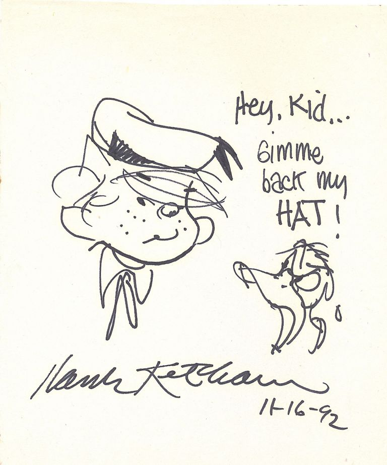 Donald Duck yells at Dennis the Menace in this Original Sketch Signed, 4to, Jan. 25, 1991. HANK KETCHAM.