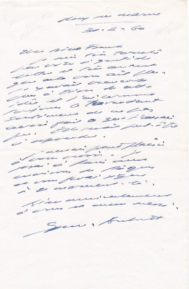 Autograph Letter Signed in French, 8vo, March 30, 1960. SAMUEL BECKETT.