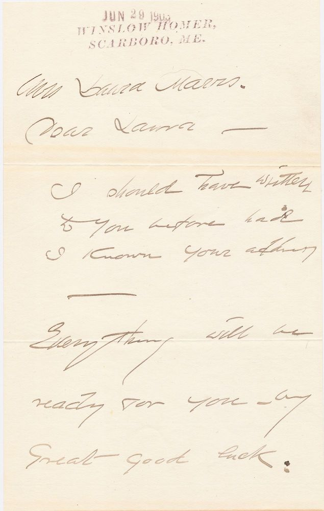 Autograph Letter Signed, 5 pages on 3 separate sheets of beige stationery, Scarboro, ME, June 29, 1903, with transmittal envelope in his hand. WINSLOW HOMER.