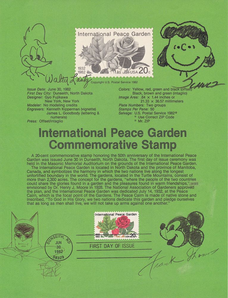 Signed Original Cartoon Sketches by the creators of their well known cartoon characters, 8 x 10 inch sheet green First Day Cover commemorating the 50th Anniversary of the International Peace Garden. CARTOON ART.