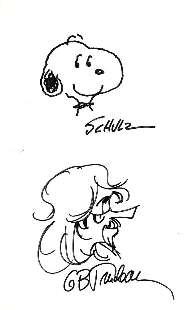 Snoopy Original Sketch Signed with Zonker Harris Original Sketch Signed. CHARLES SCHULZ, GARY TRUDEAU.