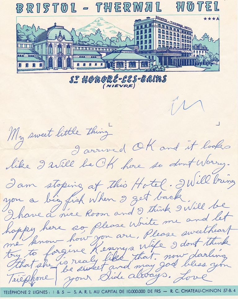 """Autograph Letter on decorative """"Bristol-Thermal Hotel"""" stationery, 4to, St. -Honore-Les-Bains (Nievre), France, n.d., with signature on transmittal envelope postmarked Sept. 5, 1958. SIDNEY BECHET."""