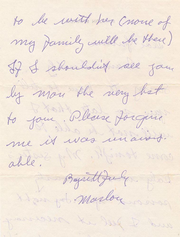Scarce Autograph Letter Signed, 2 pp on one 4to sheet, n.p., n.d. MARLON BRANDO.