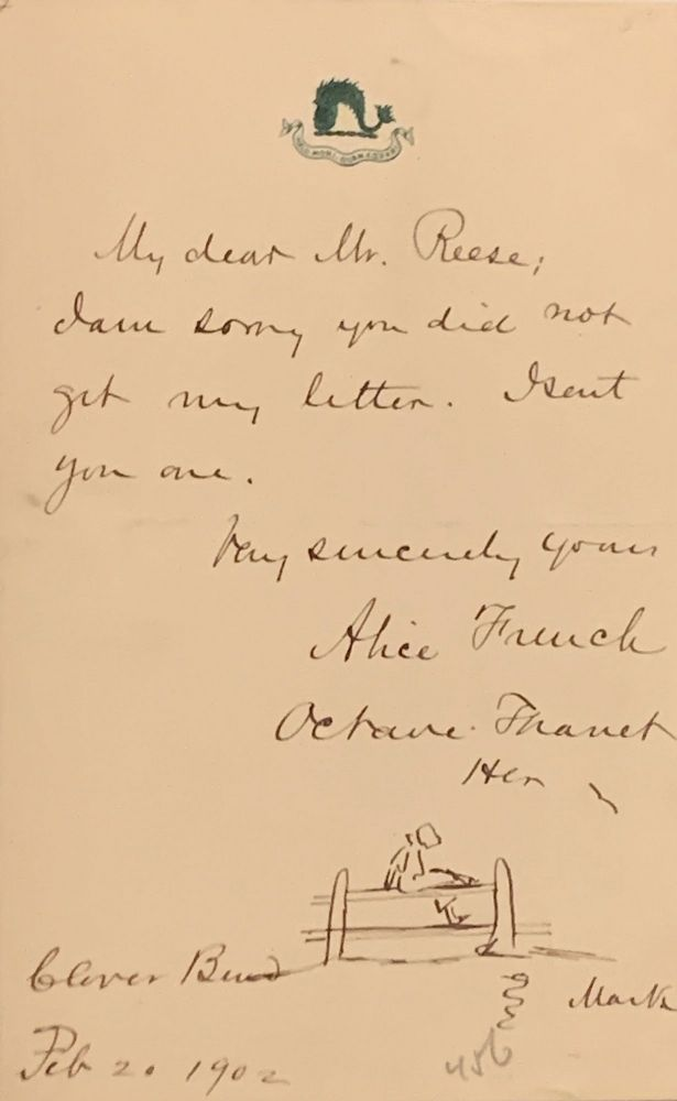 Autograph Letter Signed with Illustration, on emblematic stationery, 8vo, n.p., Feb. 21, 1902. ALICE FRENCH, OCTAVE THANET.