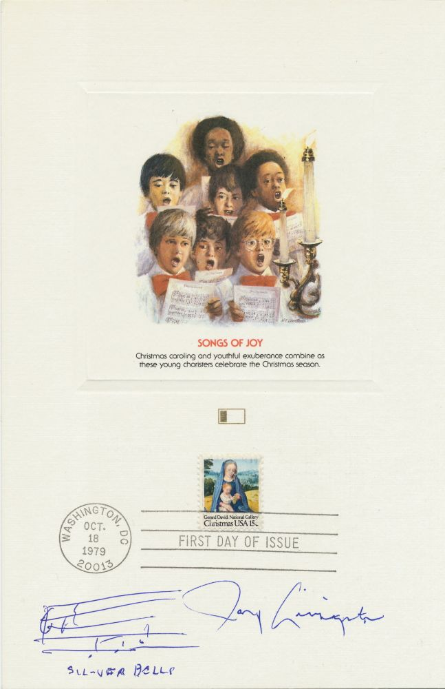 """""""Silver Bells"""" composer wrote the familiar notes on an sheet 8vo, heavy greeting card stock, first day issue Christmas Card, Washington D.C., October 18, 1979. Autograph Music Quotation Signed. JAY LIVINGSTON."""