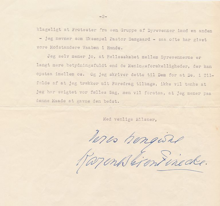 Animal rights is the issue Dinesen discusses in her Typed Letter Signed, in Danish, 2 separate pages folio, Rungstedlund, September 24, 1953. ISAK DINESEN, KAREN BLIXEN.