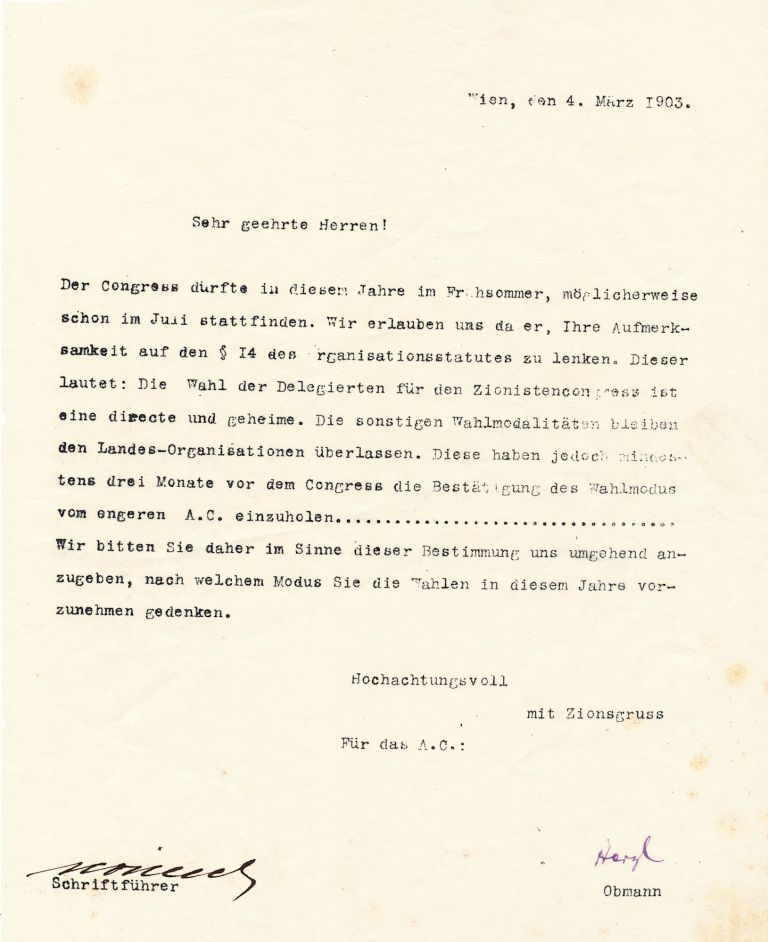 Letter Signed, in German, on 4to watermarked paper, Vienna, March 4, 1903. THEODOR HERZL.