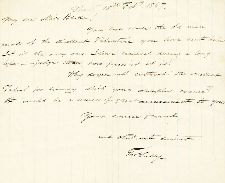 Autograph Letter Signed, oblong 8vo, Philadelphia, February 7, 1867. THOMAS SULLY.