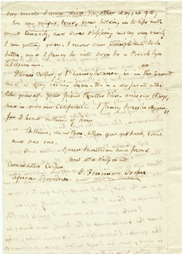 Autograph Letter Signed two pages 8vo, Cooperstown, NY, August 20, 1849. JAMES FENNIMORE COOPER.