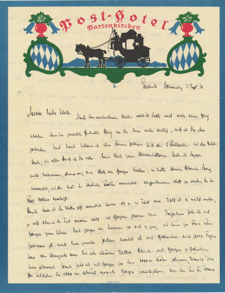 Autograph Letter Signed, in German, on magnificent hotel multicolored stationery, 4 full 4to pages, Partenkirchen, Thursday, September 3, 1931. OTTO HAHN.