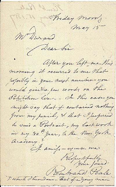 Autograph Letter Signed, 8vo, n.p., May 15, 1857. REMBRANDT PEALE.