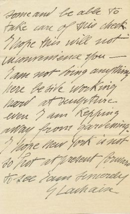Autograph Letter Signed, 8vo,2 pp., Georgetown, Maine, August 27, 1926.
