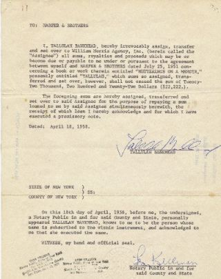 Typed Documents Signed, 4to, 5pp, William Morris Agency, New York, NY April , 18, 23 and 28,...