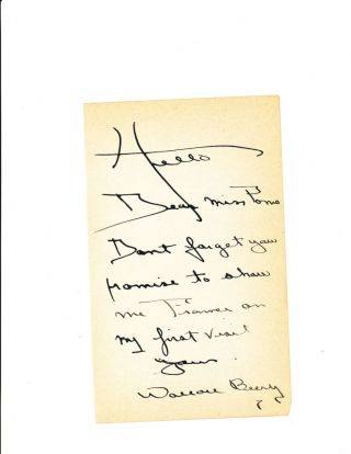 Autograph Letter Signed, 8vo, on 2 sheets, n.p., n.d. WALLACE BEERY