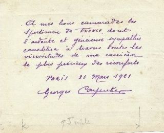 Autograph Letter Signed, 8vo, in French, on personal stationery, March 25, 1921. GEORGES CARPENTIER.