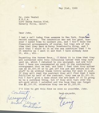 Typed Signed Letter, 4to, Beverly Hills, CA. May 31, 1960.