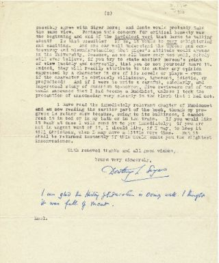 Typed Letter Signed, 4to, 2 pp on separate sheets., Witham, England, December 14, 1948.