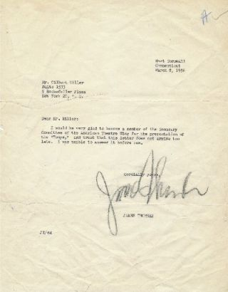 Typed Letter Signed, 4to, West Cornwall, Connecticut, March 8, 1956. JAMES THURBER