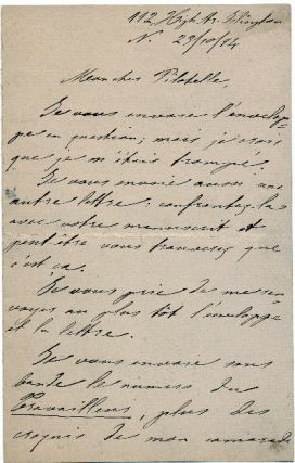 Rare Autograph Letter Signed, in French, two pages 8vo, 112 High St. Bolington, October 23,1894. ERRICO MALATESTA.