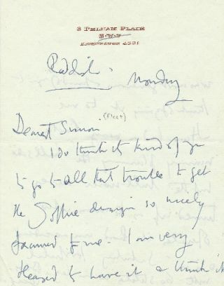 Autograph Letter Signed, 8vo, on personal stationery, 8 Pelham Place Kensington, London, Monday, n.d. CECIL BEATON.