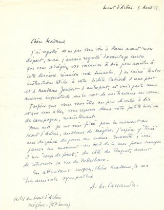 Autograph Letter Signed, in French, 4to, Hotel du Mont d'Arbois, Niegeve, France, August 5, 1955....