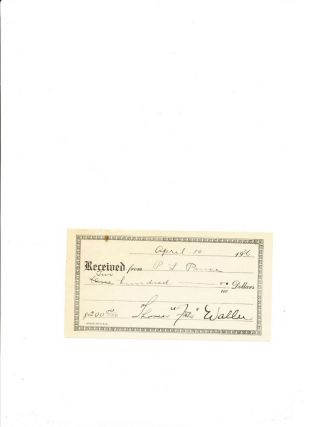 Printed Document Signed, small 8vo, n.p., April 10, 1936. THOMAS 'FATS' WALLER