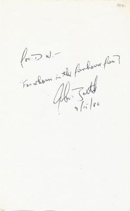 Autograph Note Signed, 8vo, n.p., September 15, 1980. JOHN SIMMONS BARTH