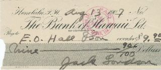 Printed and Autograph Document Signed, oblong 8vo, Honolulu, Hawaii, August 13, 1907. JACK LONDON.