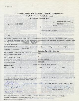 Typed Document Signed, 4to, New York, November 25, 1955.