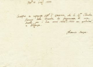 Autograph Document Signed, in Italian, oblong 8vo, Modena. June 18, 1777. ANTONIO SCARPA