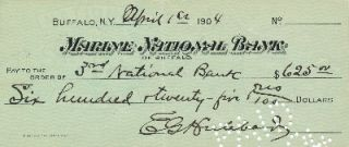 Document Signed, 8vo oblong, Marine National Bank, Buffalo, New York, April 1, 1904