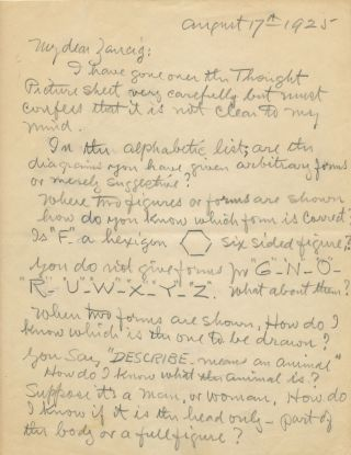 Correspondence between Houdini and mentalist Julius Zancig about mind reading with illustration:...