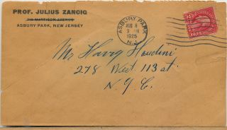 "Correspondence between Houdini and mentalist Julius Zancig about mind reading with illustration: 1- Zancig Typed Letter  unsigned, to Houdini on ""Zancig Studio"" stationery  explaining the mind reading trick ""How to Thought Picture""; with envelope addressed to Houdini, postmarked Asbury Park, NJ., August 8, 1925. Zancig wrote ""Private"" on verso of this letter. 2- Written on behalf of Houdini, possibly by secretary Julie Sawyer, a holograph letter signed for  him to mentalist Julius Zancig, in pencil, three separate 4to pages,  August 17,1925;  Julie Sawyer was the niece of Houdini's wife Bess. 3- Typed Letter unsigned, 2 pp,  to Zancig  with a hexagram diagram Houdini likely drew, in ink, Aug. 21, 1925;"