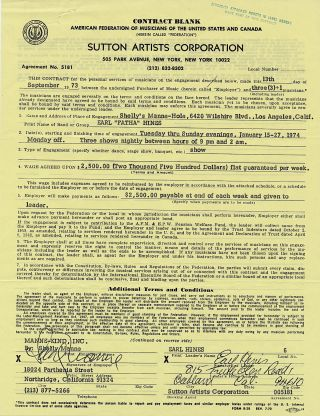 "Typed and printed Document Signed, on a ""Sutton Artist Corporation"" contract, 4to, Ca. Sept 13,..."