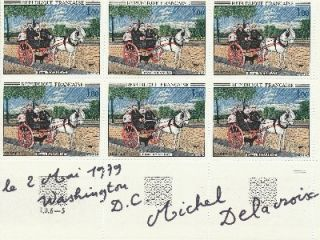 Signed sheet of 6 French postage stamps, Washington D.C. 8vo, May 2, 1979. MICHAEL DELACROIX