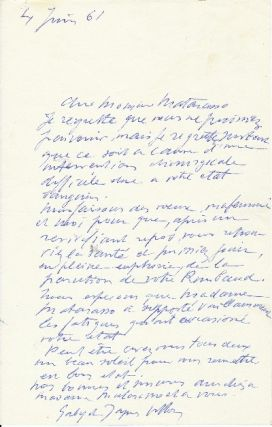 Autograph Letter Signed, in French, 8vo, n.p., June 4 1961. JACQUES VILLON