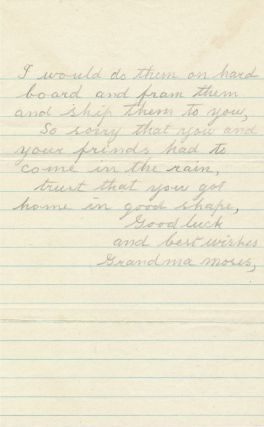 Uncommonly signed Autograph Letter Signed, in pencil, 2 separate pages, 8vo, Eaglebridge, Oct. 18, n.y.