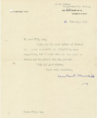 Typed Letter Signed, 4to, (London, S.W.7.) at La Pausa, Roquebrune-Cap Martin, February 20, 1957