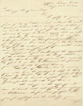 "Scarce A.L.S., 4to, 2pp on one sheet, hand written ""Office Indian Trade"", May 22, 1820...."