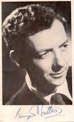 Signed Black and White Photograph, small 8vo, n.p. n.d but ca 1950's. BENJAMIN BRITTEN.